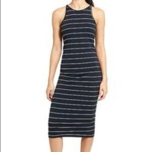 "Athleta SZ XS ""Sunkissed Midi"" Dress Black Striped"